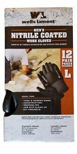 Nitrile Palm Coated Work Gloves Wells Lamont Size Large 12 Pairs