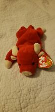 Vintage 1995 TY Beanie Babies Snort The Red Bull Toy style 4002 PVC Pellets