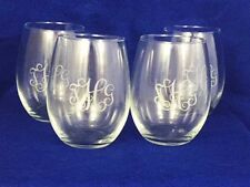 Set of 4 monogramed stemless wine Glasses engraved personalizd free shipping