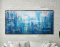 """60""""x30"""" Original Blue Abstract Painting XLarge Canvas Art  Abstract Wall Art"""