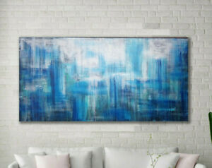 "60""x30"" Original Blue Abstract Painting XLarge Canvas Art  Abstract Wall Art"