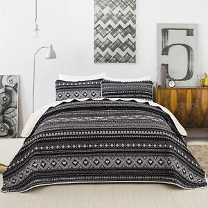 Striped Quilted Coverlet Patchwork Queen Size Bedspread Set Comforter Blanket