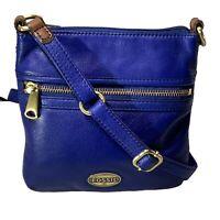 NWOT ~ Fossil Royal Blue Leather Flat Crossbody Shoulder Bag