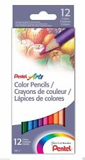 Pentel Arts Colour Pencil | School Artist Draw Design Sketch | Set of 12 Pencils