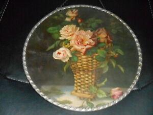 """Antique Flue Cover PINK ROSES in BASKET VASE 9 5/8"""" Made in Germany"""