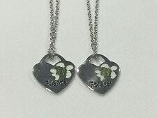 BEST FRIEND Turtle In Heart on Chain 2 Pendants Necklace BFF Friendship