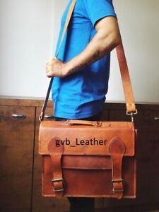 Vintage Leather Messenger All Computer College School Satchel Macbook Laptop Bag