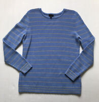 Talbots Sz M Pale Blue Gray Striped Cashmere Blend L/S Crew Neck Sweater