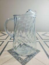 Vintage Light Blue Glass Pitcher w/ Ice Lip Swirl Twisted Pattern Iced Tea Water