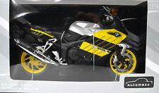 BMW K1200S gelb-schwarz-silber 1:12 Motorrad Modell von automaxx