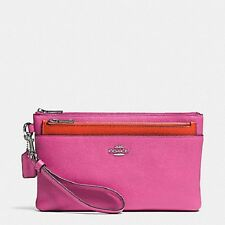 Coach Crossgrain Leather Wristlet with Removable Pop-Up Pouch Fuchsia  F52468