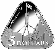 AUSTRALIA 2013 $5 TRIANGULAR PARLIAMENT HOUSE FINE SILVER PROOF COIN-FIRST ISSUE