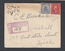 USA 1912 10C REGISTRATION STAMP ON COVER INDIANA TO MARSHALL MICHIGAN