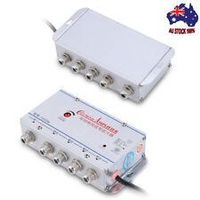 Home 4 Way Output CATV/TV Antenna Signal AMP Booster Splitter 220V , AU plug New