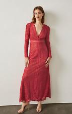 NEW NWT $528 BCBG MAX Azria Women's Red Bcbg Mosaic Lace Maxi Dress Sz Large L