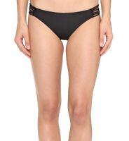 Amuse Society Womens Swimwear Black Size Medium M Strappy Bikini Bottom $58 606