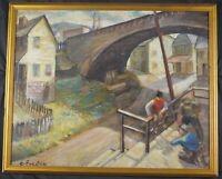 Vintage Original Impressionist Oil Painting Under the Bridge by C. Forster