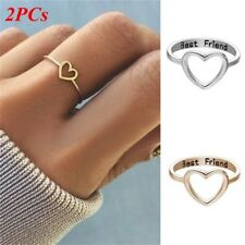 2PCs Lady Love Heart Best Friend Ring Promise Jewelry Friendship Rings Band US 7