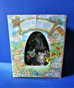 Easter Bunny Spring Water Globe Musical Peter Cottontail Egg Shape NEW