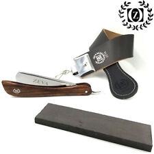 Wooden Handle Straight Razor Cutthroat Kit w. Wet Stone & Strop for Sharpening