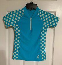 New listing Girls Disney Parks Swim Shirt Blue W/ Polka Dots 1/4 Zip Front 6 Mickey Mouse