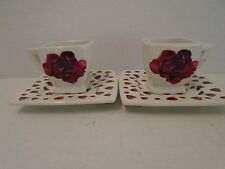Italian Ceramics Rose 2 Two Cups Saucers Valentine's Day Roses Square Demitasse