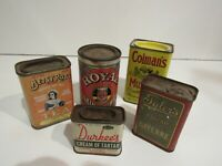 Vintage Spice Tins Colman's Royal Betsy Ross Durkees Tylers Brands With Contents