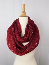 INC Ombre Galaxy Sequin Knit Infinity Loop Cowl Scarf Deep Wine Red #6303