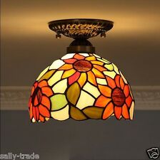 Tiffany Style Sunflower Ceiling Lamp E27 Light Fixture Stained Glass Flushmount