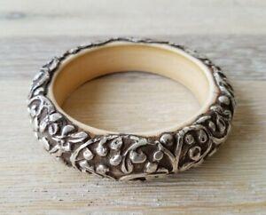 Tibetan Sterling Silver Repousse Chunky Boho Cream Resin Bangle Bracelet Nepal