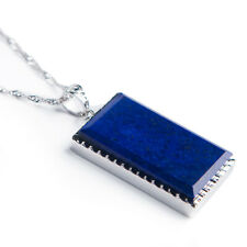 Genuine Natural Blue Aquamarine Crystal Clear Raw Material Stone Pendant 32x29x9mm AAAAA