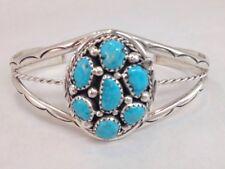 Native American Navajo Handmade Turquoise Sterling Silver Cuff Bracelet- MC