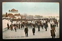 1909 Skating Belle Isle Park Detroit Michigan Walpole NH RPPC Cover