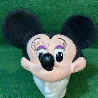Vintage Disney 1992 Minnie Mouse Plastic 3D Molded Face Snapback Hat