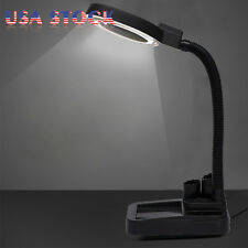 5X 10X Desktop Gooseneck Magnifying 40 LED Lamp Magnifier Desk Jewelry Light