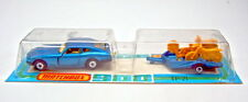 Matchbox rares Französisches Two-Pack Datsun & Motorcycle Trailer in blau