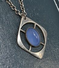 Antique STERLING SILVER & Sugarloaf MOONSTONE GLASS Opalescent PENDANT & Chain