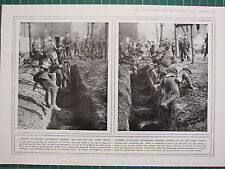 1915 WWI WW1 PRINT ~ LEARNING TO BAYONE GERMANS JUMPING INTO ENEMY TRENCHES