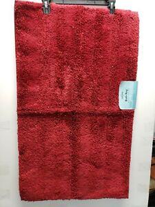MOHAWK LUSTER STRIPE RED SEDONA BATH RUG 20 X 34