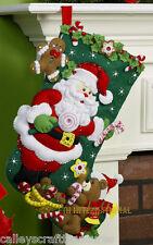 """Bucilla Santa & Teddy Bear ~ 18"""" Felt Christmas Stocking Kit #86448, Candy Canes"""
