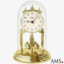 AMS 41 Year Clock Quartz, Brass Optics, Mineral Glass Table Style Watch Mantel