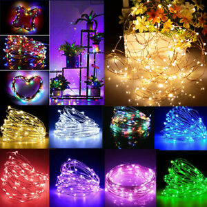 20/50/100 LED Battery Micro Rice Wire Copper Fairy String Lights Party Decor UK