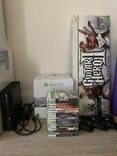Xbox 360 4Gb Black Console With Guitar Hero 2 3 Controllers Farcry Halo & More