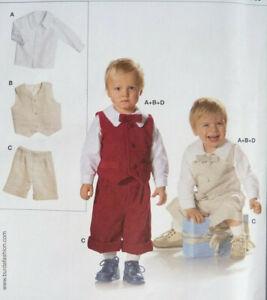 BURDA 9732 Babies/Toddlers Shirt Waistcoat Shorts & Bowtie 6Mths-3yrs  NEW/UNCUT