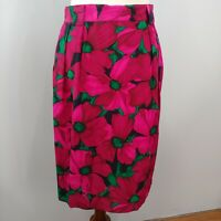 Vintage 100% Silk Skirt, Magenta Floral, 12, Jones New York