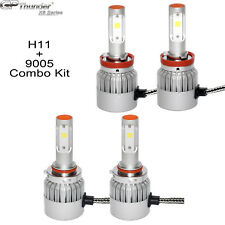2Pair 9005 + H11 Combo LED Headlight Low High Beams Light Kit Bulbs 6000K Adjust