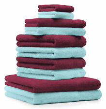 Betz Juego de 10 toallas PREMIUM 100% algodón de color rojo oscuro y turquesa