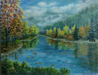 "Art 11""/14"" oil painting, autumn mountains, landscape, nature, mountains view"