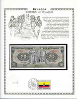 Ecuador 20 Sucres 1983 P 115b UNC w/ FDI UN FLAG STAMP Serie LJ Birthday 1948