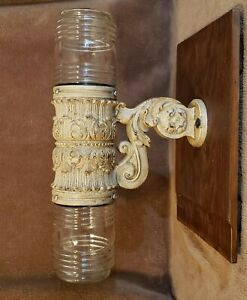 Antique Cast Iron Corbel Decorative Architectural w 2 Glass Globes